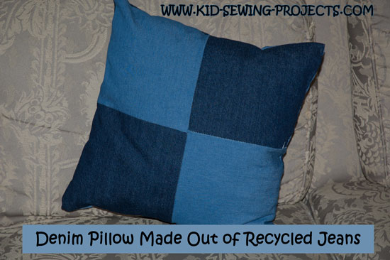 old blue jean pillow project