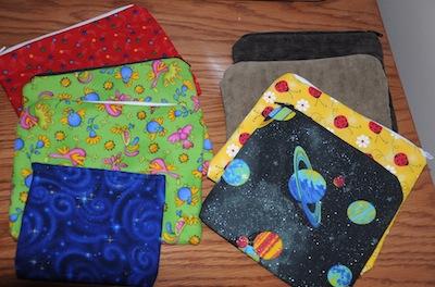zipper bags sewn