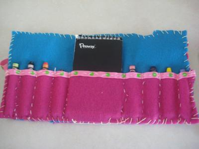 finished felt organizer