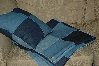 old blue jean quilt and pillow