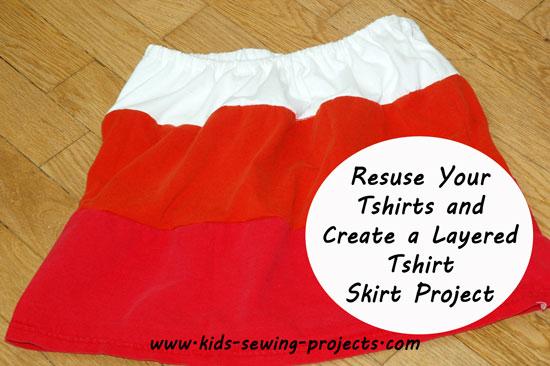 sewn 3 tiers t-shirt skirt