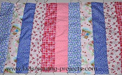 sew strips of skirt