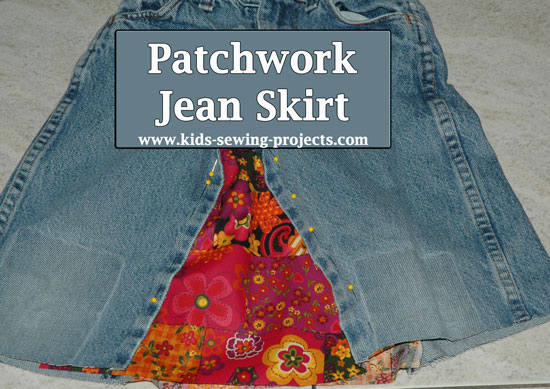 jean skirt pinned