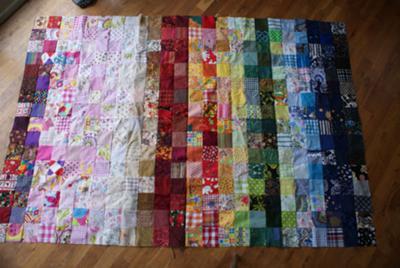 rainbow patchwork quilt