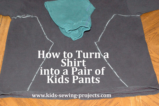 how to turn a shirt into a pair of kids pants