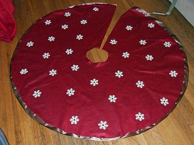 make any adjustments necessary after fitting your pattern around the tree stand tree skirt