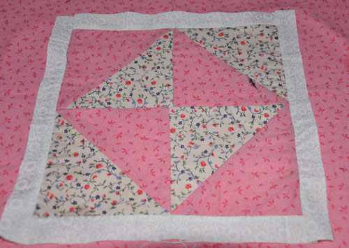 sewn triangles into squares