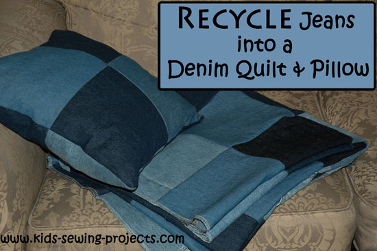 old blue jean quilt and pillow project