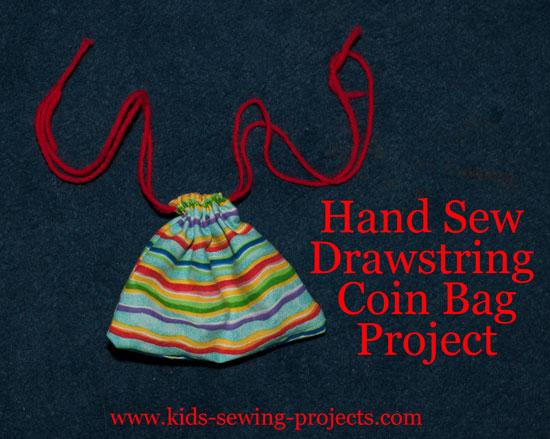 Drawstring hand bag sewn project