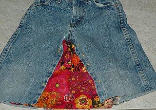 jean skirt pinned