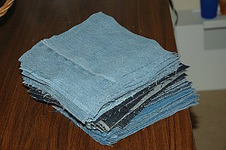 squares of jeans