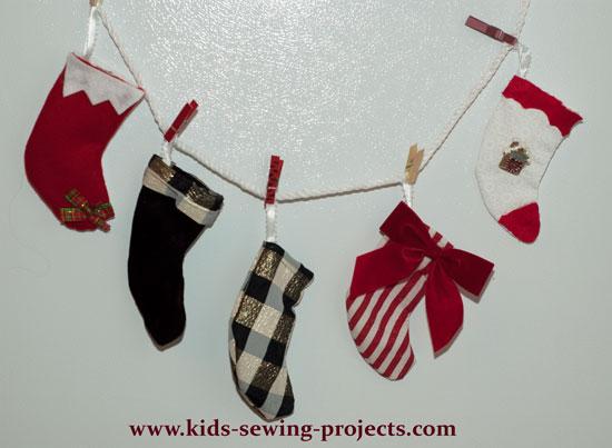mini Christmas stockings decorated