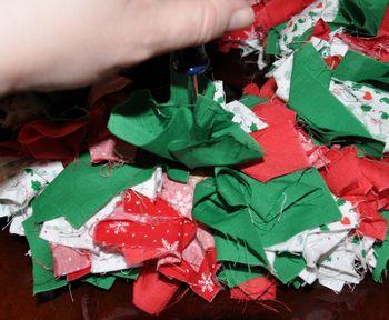 poke fabric in wreath