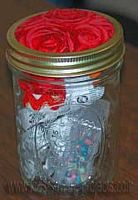 sewing kit in jar