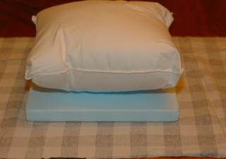 pillow on top of foam board for a homemade lap desk