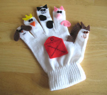 Use a pair of winter gloves and add animal or people faces by hand sewing into place.
