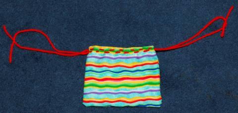 finished outside stitches of drawstring bag