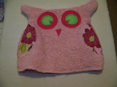 Finished Owl Bath Mitt