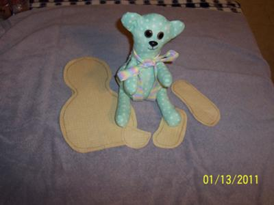 This is my bear and the patterns I made to cut it out.