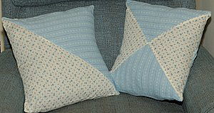 triangle patchwork pillows project done