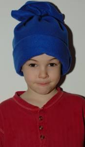 fleece hat on